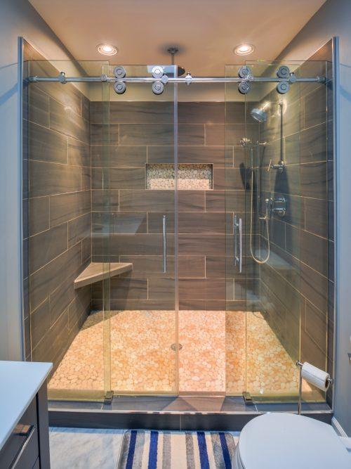 Custom Glass Barn Door Slider Shower Entrance