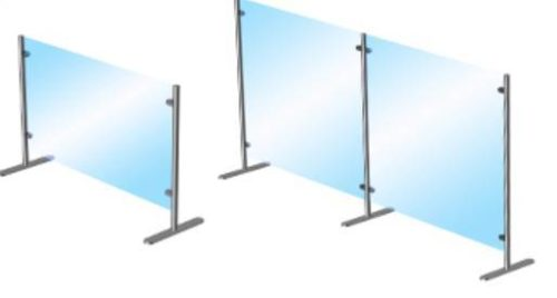 Moveable glass post barrier designs offered in two different sizes.
